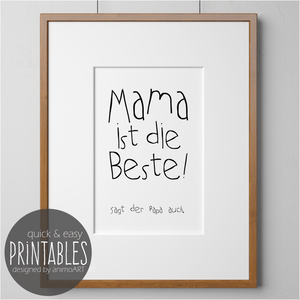 Mama ist die beste! -  PRINTABLE - Digital Downloads_Printable_handmade_animoART