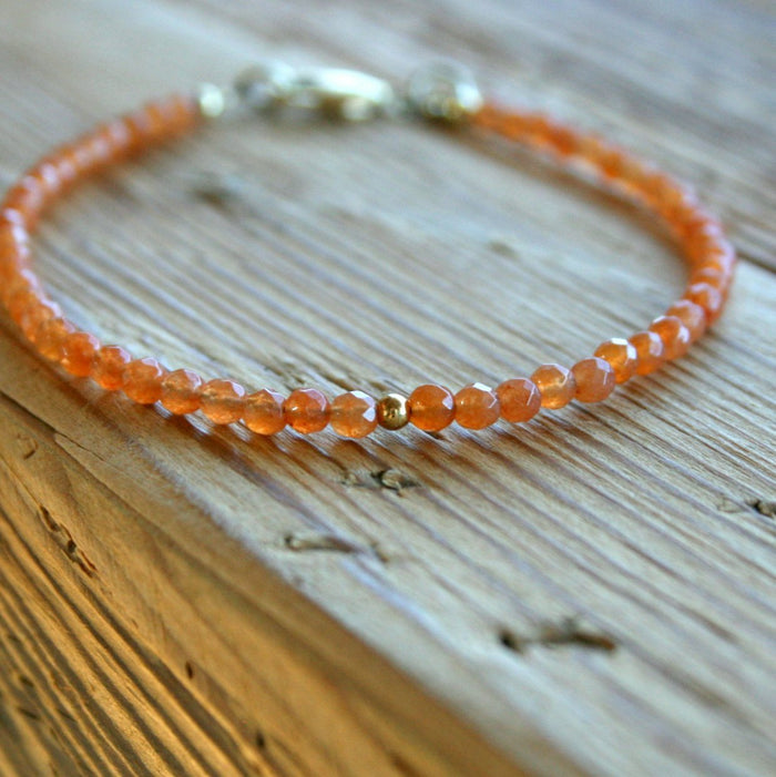 "Edelstein-Armband ""Aventurin-Sonnenstein"" orange - gold"