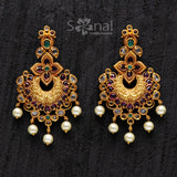 Sonal Fashion Jewellery Red Green Gold Plated Matt Finish Drop Zircon Earings For Women (SFJ467)