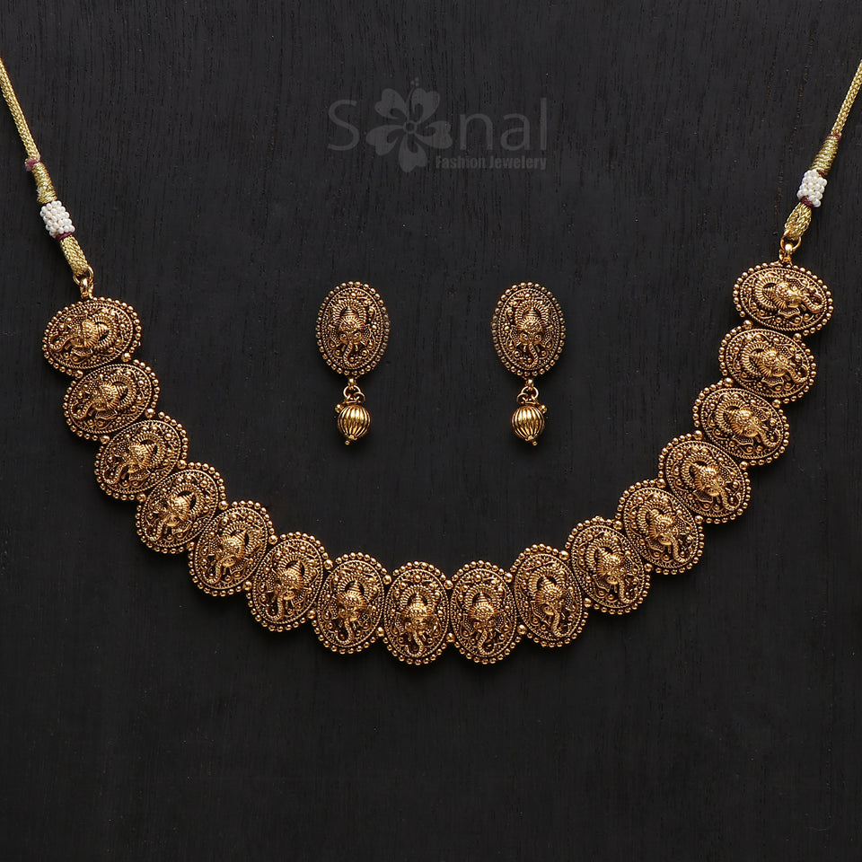 Sonal Fashion Jewellery Red Gold Plated Matt Finish Pearl Drop Temple Earings For Women & Girls (SFJ461)