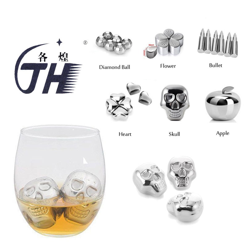 Stainless Steel Whiskey Stones and tongs