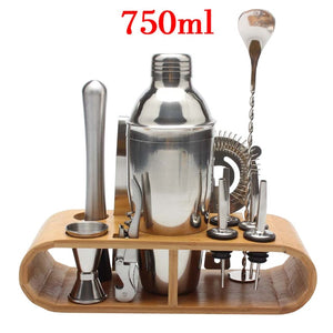 12-Pieces Cocktail Shaker/Bartender Sets w/ Stylish Bamboo Stand