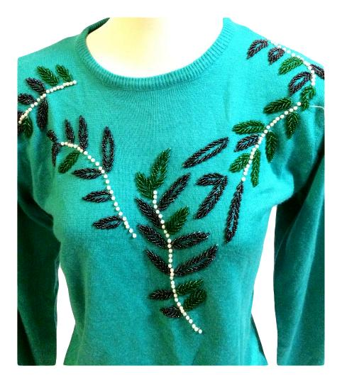 874756088d Vintage Turquoise Blue Beaded Gem Sweater Size S - Pretty Poppies Vintage  ...