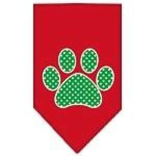 Green Swiss Dot Paw Screen Print Bandana