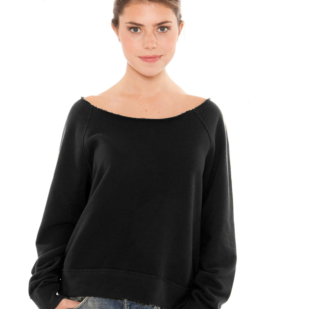 Womens French Terry RAW edge Crewneck