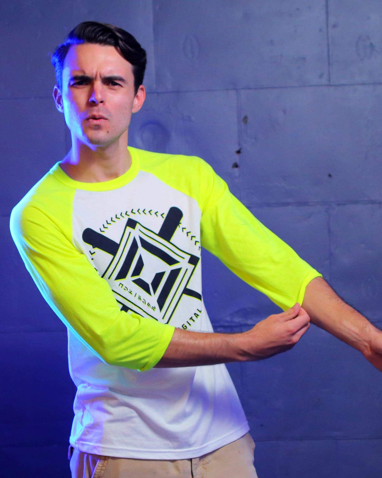 Corridor Baseball 3/4 Sleeve Raglan - White/Neon Yellow