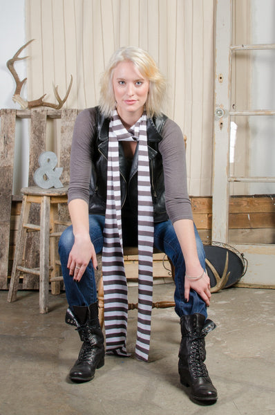 Grey & White Striped Scarf