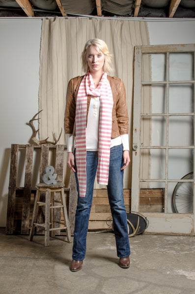 Pink & White Striped Scarf