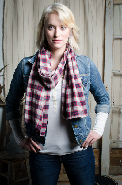 Red, Blue, & Tan Flannel Scarf