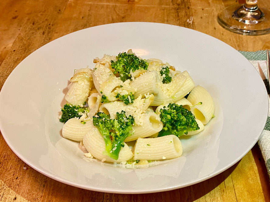 Gluten Free Rigatoni with Broccoli and White Wine Sauce.