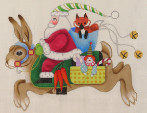 Santa Riding a Rabbit