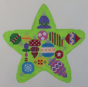 Green Star w/ Baubles Ornament