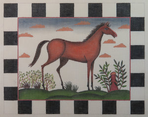 Horse with Checkered Border