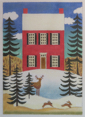 Winter Scene with Red House