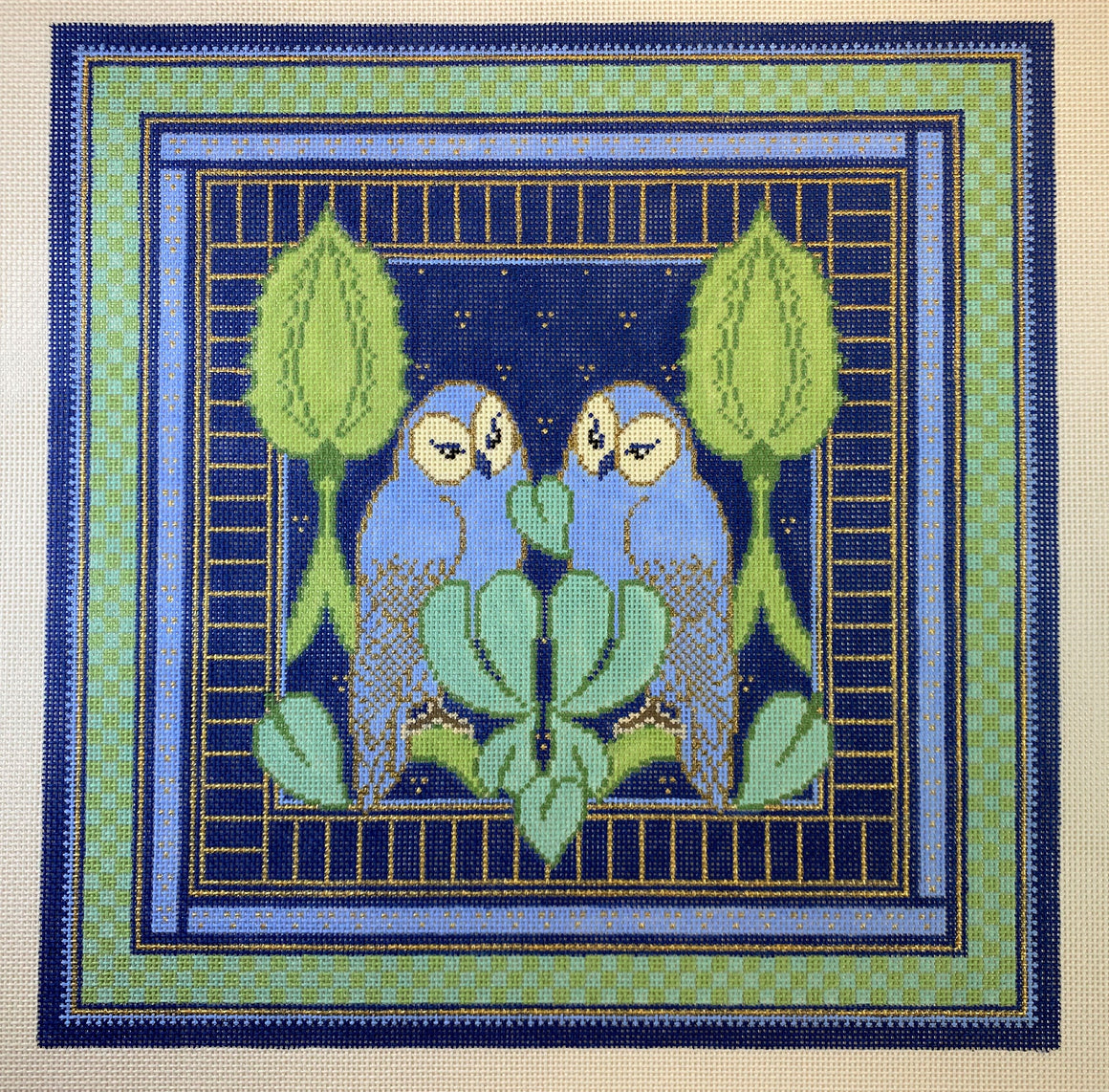 Blue & Green Owl Pillow