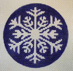 Snowflake on Navy Background Ornament