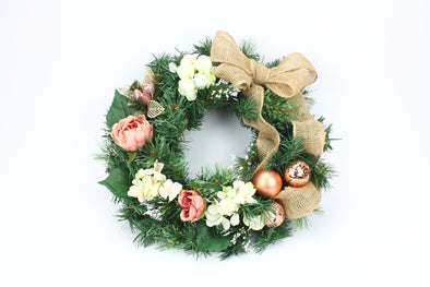 Large Floral Christmas Wreath 50cm