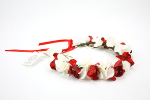 Red Orchids & White Hydrangea Crown