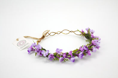 Purple Lilac Flowers and Mini Fern Leaf Crown
