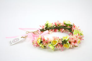 Pink Sea Aster & Green Cherry Blossom Crown