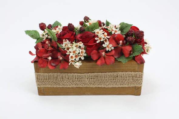 Red Roses and Orchids Handmade Wooden Box