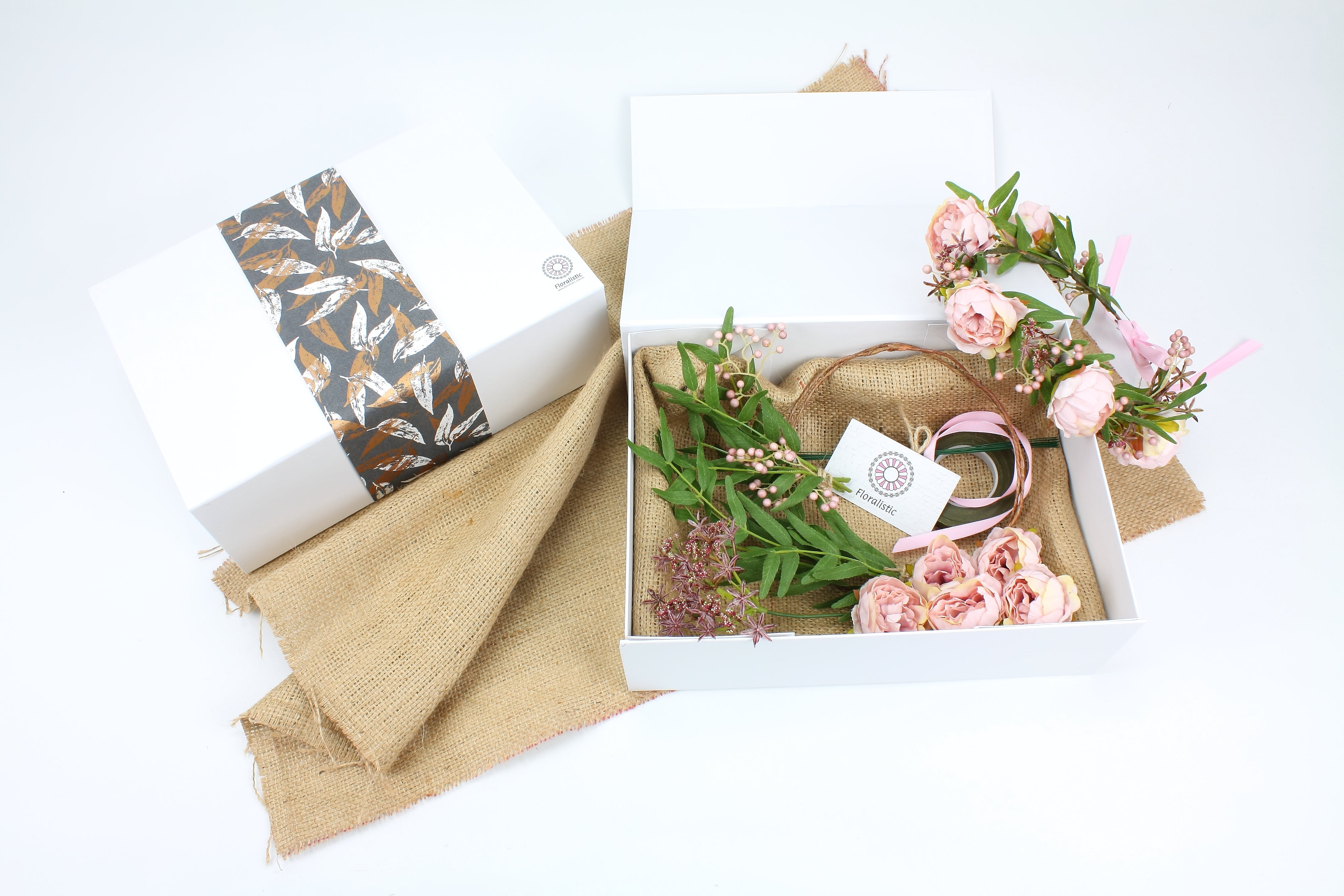 Diy Flower Crown Gift Box Pale Pink Mini Peonies Artificial Flowers