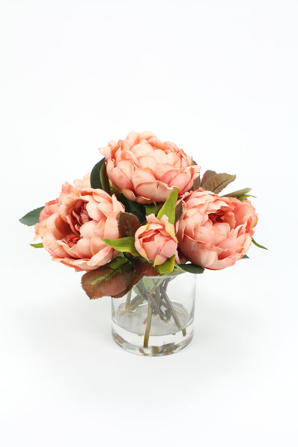 Antique pink Peony artificial flower arrangement in clear vase and resin
