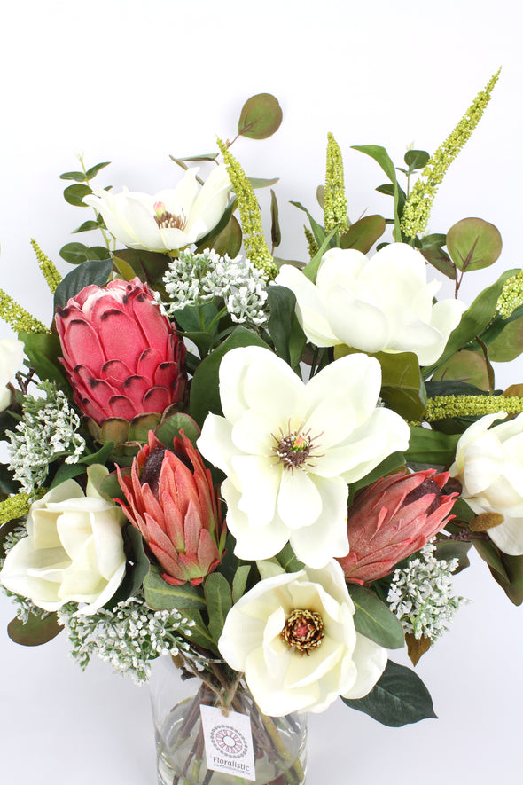 White Magnolia and Protea Artificial Flower Arrangement