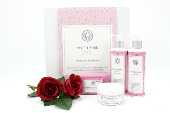 Skin Care Gift Set - Sweet Rose scent - skin cleansing lotions - hand and body lotions - birthday gift - thank you gift - pamper gift