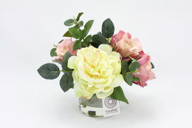 Cream Peony with Antique Pink Rose Silk Flower Arrangement