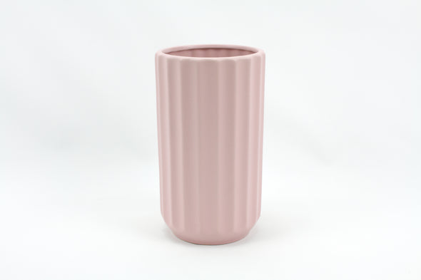 Ceramic Cylinder Vase Ridged Matte Light Pink