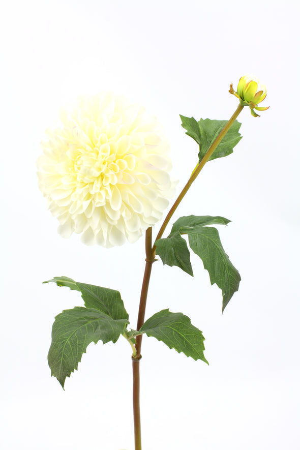 Dahlia Pompon Large Artificial Flower - White