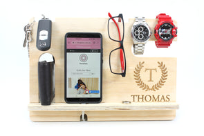 Personalised Wooden Phone and Accessories Docking Station - Clear Laquer - Father's day - gift for him