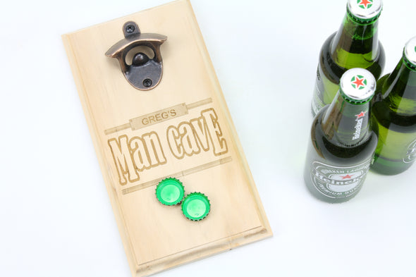 Beer bottle opener with magnetic cap catcher (Graphic: man cave)-gift for him-birthday gift-gift for beer dinkers