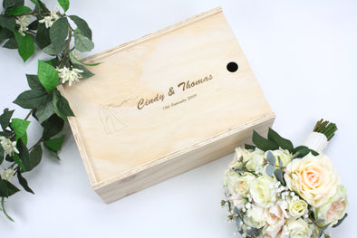 Personalised handmade wooden wedding keepsake box with engraving - box to store memories - storage for sentimental items