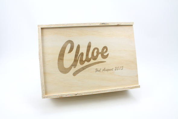 Personalised handmade wooden baby keepsake box - store your memories safely - box for sentimental items