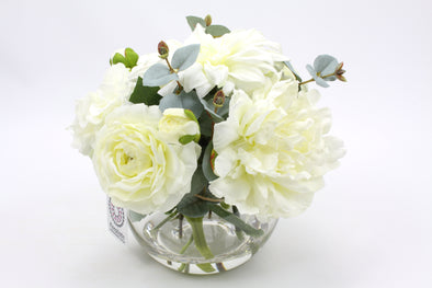 White silk flower arrangement with Ranunculus, Dahlia, Peony and Eucalyptus