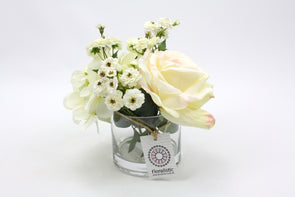 White Champagne Rose with White Hydrangea Silk Flower Arrangement