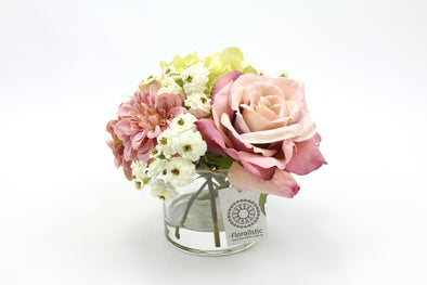 Dusty Pink Rose and Green Hydrangea Artificial Flower Arrangement