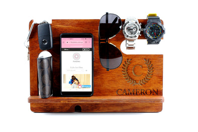 Personalised Stained Wooden Phone & Accessories Docking Station - Jarrah -fathers day gift