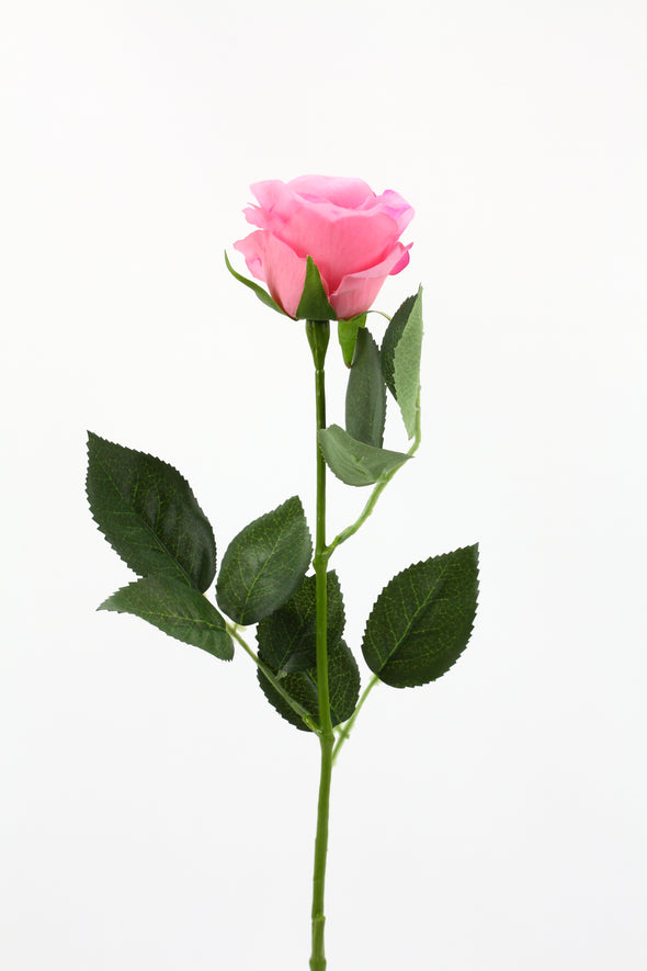 Rose Stem Half Bloom Pink 55cm Real Touch