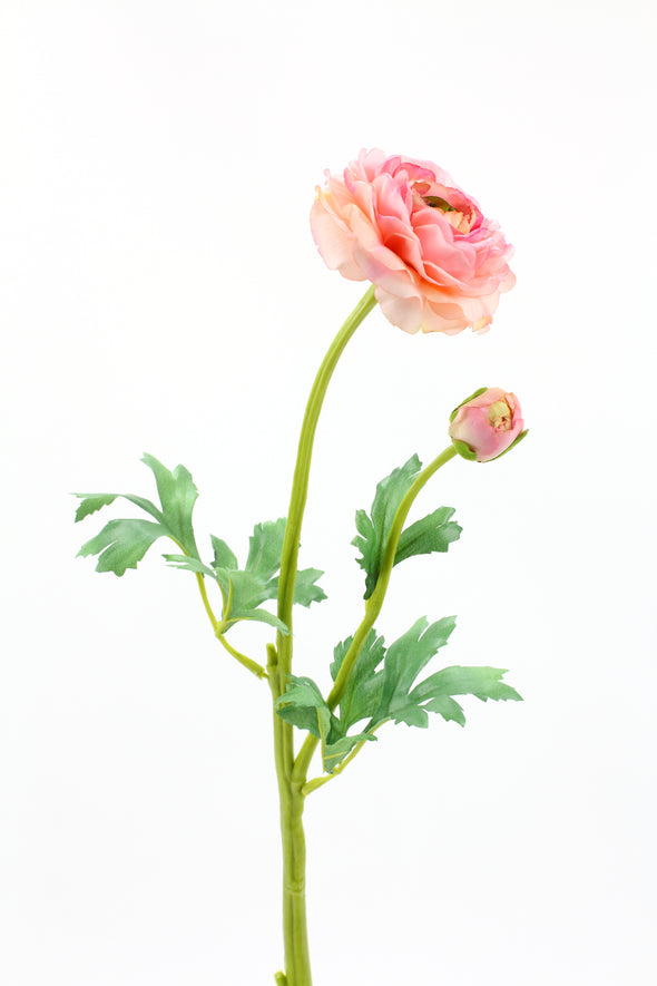 pink artificial ranunculus flower stem