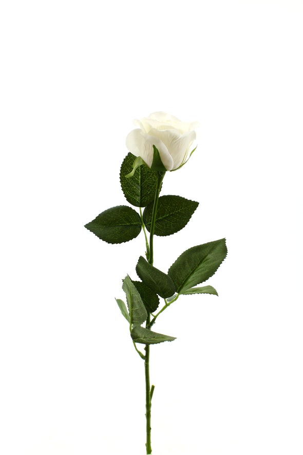 Rose Half Bloom White 55cm Real Touch