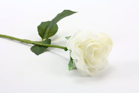 artificial rose stem in white