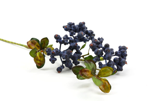 Berry Artificial Flower Spray x3 Small Clusters - Purple Black 48cm