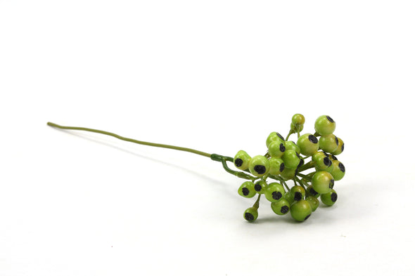 Berry Bunch Artificial Flower Pick - Green 26cm
