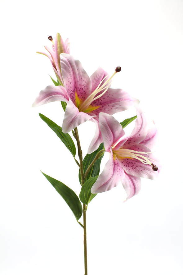 Casablanca Tiger Lily (2 Heads) Real Touch Artificial Flower - Lilac 80cm