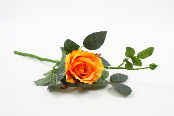 orange rose silk flower stem