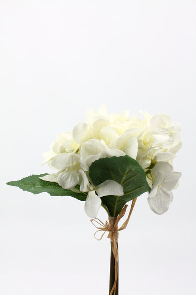 Hydrangea x3 Artificial Flower Bunch - White 32cm