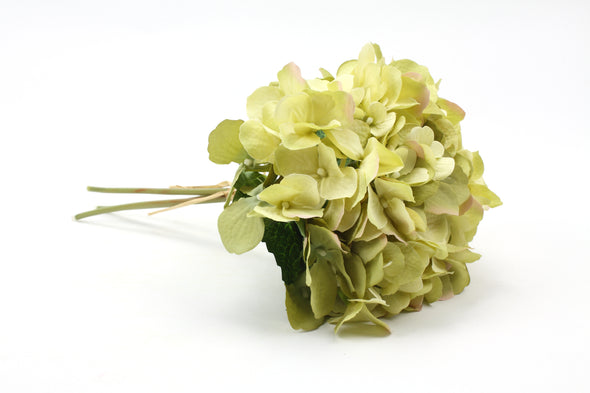 Hydrangea x3 Artificial Flower Bunch - Green 32cm